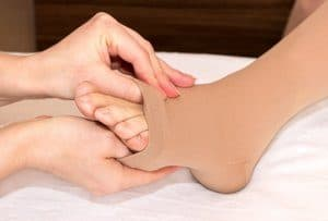 open toe compression, stockings, Compression therapy, legs, ankles, feet,